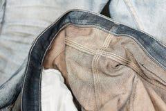 Zamyka w górę błękitnego cajgu lub drelichu inside - out Zdjęcie Royalty Free