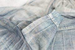 Zamyka w górę błękitnego cajgu lub drelichu inside - out Zdjęcia Stock