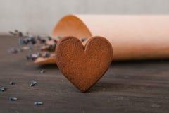 Zamyka w górę ciastka serca z lawendą Fotografia Stock