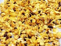 Zamyka W górę cornflakes zboża z migdałami, nerkodrzewami i rodzynkiem, Zdjęcia Stock