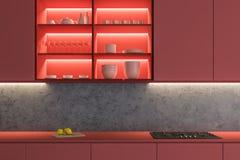 Zamyka w górę czerwonego kuchennego countertop royalty ilustracja