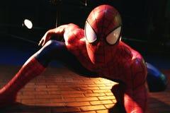 Zamyka w górę czlowiek-pająk, Madame Tussauds muzeum fotografia royalty free