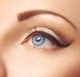 Zamyka w górę fotografii żeński niebieskie oko Obrazy Stock
