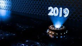 Zamyka w górę, futurystyczny techniczny środowisko z hologramem liczba 2019 royalty ilustracja