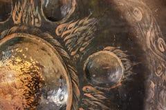 Zamyka w górę gongu w buddyjskiej świątyni Fotografia Stock