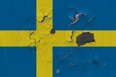 Zamyka w górę grungy, uszkadzającej i wietrzejącej Szwecja flagi na ścianie struga daleko farbę widzieć wśrodku powierzchni, zdjęcia stock