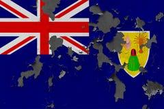 Zamyka w górę grungy, uszkadzający i wietrzeć Caicos wyspy I turczynki zaznaczają na ścianie struga daleko farbę widzieć wśrodku  zdjęcie stock