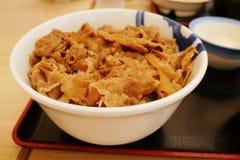 Zamyka w górę Gyudon pucharu ryż nakrywający z pokrojonym wołowiny, cebuli i cukierki kumberlandem, Obraz Royalty Free