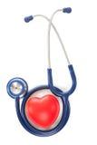 Zamyka w górę indoors strzelał stetoskop i bawi się serce na białym tle Zdjęcie Royalty Free