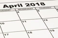 Zamyka w górę kalendarza papieru prześcieradła Kwiecień 2018 obraz royalty free