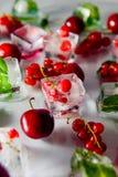 Zamyka w górę kostek lodu z świeżymi jagodami wśród zamarzniętej wiśni i wybija monety liście na białym tle, truskawka selekcyjna Fotografia Stock