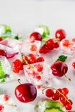 Zamyka w górę kostek lodu z świeżymi jagodami wśród zamarzniętej wiśni i wybija monety liście na białym tle, truskawka Selekcyjna Obrazy Stock
