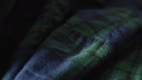 Zamyka w górę W kratkę Flanelowej koszula Zieleni i błękita kolory zdjęcie wideo
