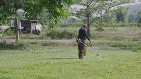 Zamyka w górę mężczyzny używa gazonu kosiarza przy frontowym jardem zdjęcie wideo