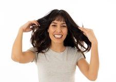 Zamyka w górę młodej rozochoconej kobiety ono uśmiecha się i świętuje Ludzcy wyrażenia i emocje fotografia stock