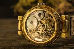 Zamyka w górę machinalnej części złoty rocznika zegarek Obraz Stock