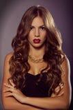 Zamyka w górę moda portreta Makeup i fryzura zdjęcie stock