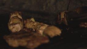 Zamyka w górę naczynia skewered i sześciany mięso piec na grillu na bbq grillu w piekarniku nad węglami w restauracji w slowmo ku zdjęcie wideo
