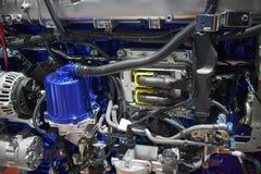 Zamyka w górę nowego ciężarowego silnika diesla silnika z różnymi część szczegółami Ciężarowego silnika silnika filtra alternator Obraz Stock