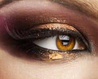 Zamyka w górę obrazka kobiety brązu oko patrzeje daleko od z kreatywnie m Obrazy Stock