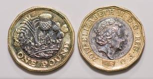 Zamyka w górę ostrość fotografii nowego Zlanego królestwa Funtowa moneta odizolowywająca na białym tle Zdjęcie Royalty Free