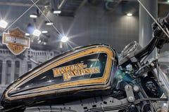 Zamyka w górę paliwowego zbiornika motocykl Harley Davidson Zdjęcie Stock