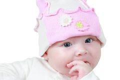 Zamyka w górę pięknej 4 miesięcy starej dziewczynki i niebieskie oczy Obrazy Royalty Free