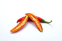 Zamyka w górę pokrojonego czerwony chili pieprzu bielu odizolowywającego fotografia stock