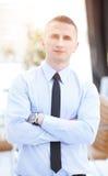 Zamyka w górę portreta atrakcyjny biznesmena ono uśmiecha się Zdjęcie Royalty Free