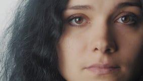 Zamyka w górę portreta kobieta z brown oczami przy białym tłem zbiory