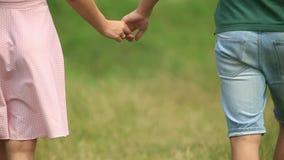 Zamyka w górę ręki para Chodzić w polu Romantyczna atmosfera zdjęcie wideo