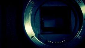 Zamyka w górę spojrzenia kamera obiektyw zbiory