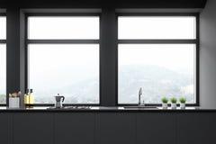 Zamyka w górę szarego kuchennego countertop ilustracja wektor