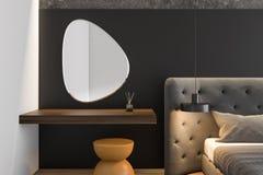 Zamyka w górę szarej mistrzowskiej sypialni z lustrem royalty ilustracja