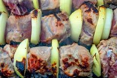 Zamyka w górę szaszłyka lub grilla na skewers Fotografia Stock