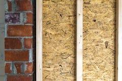 Zamyka w górę szczegółu domowej budowy drewniani ścienni elementy Inte Zdjęcie Stock