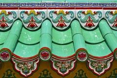 Zamyka w górę szczegółu płytki przy chińską świątynią zdjęcie royalty free