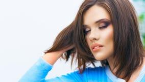 Zamyka w górę twarz portreta młoda beautiul kobieta Fotografia Royalty Free