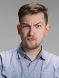 Zamyka w górę twarzy gniewny mężczyzna obraz stock