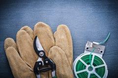Zamyka w górę widok zieleni ogródu secateurs na rękawiczce i drutu Obraz Stock