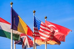 Zamyka w górę widoku flaga różni kraje obraz royalty free