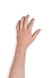 Zamyka w górę widoku man& x27; s ręka na białym tle, Obrazy Stock