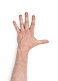 Zamyka w górę widoku man& x27; s ręka, odosobniona na białym tle Obrazy Stock
