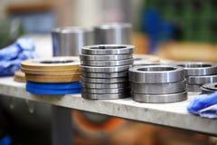 Zamyka w górę widoku metal części w fabryce Zdjęcia Stock