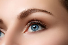 Zamyka w górę widoku piękny błękitny żeński oko zdjęcia royalty free