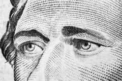 Zamyka w górę widoku portreta Alexander Hamilton na jeden dziesięć dolarowym rachunku Tło pieniądze 10 dolarowy rachunek z Aleksa zdjęcie stock