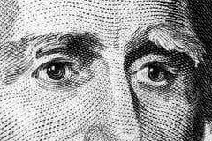 Zamyka w górę widoku portreta Andrew Jackson na jeden dwadzieścia dolarowym rachunku Tło pieniądze 20 dolarowy rachunek z Andrew  zdjęcia royalty free