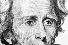 Zamyka w górę widoku portreta Andrew Jackson na jeden dwadzieścia dolarowym rachunku Tło pieniądze 20 dolarowy rachunek z Andrew  obrazy stock