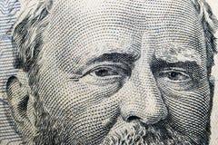 Zamyka w górę widoku portreta Ulysses S Grant na jeden pięćdziesiąt dolarowym rachunku Tło pieniądze 50 dolarowy rachunek z Ulyss zdjęcie stock
