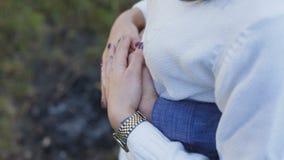 Zamyka w górę widoku samiec i kobiet ręki pieścą each inny 4K zbiory